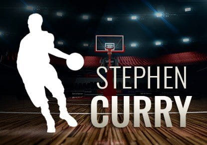 Die Umrisse von Stephen Curry in einer Basketball-Halle.